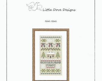 "Christmas Counted Cross Stitch Pattern NOEL NOEL - 3.75"" x 7"" - Little Dove Designs - Winter Scene - Stockings"