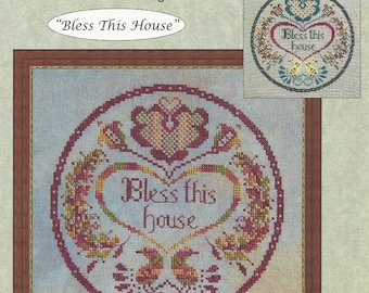 BLESS THIS HOUSE Counted Cross Stitch Pattern from Whispered by the Wind Designs - Home Cross Stitch - Home Decor - Religious Cross Stitch
