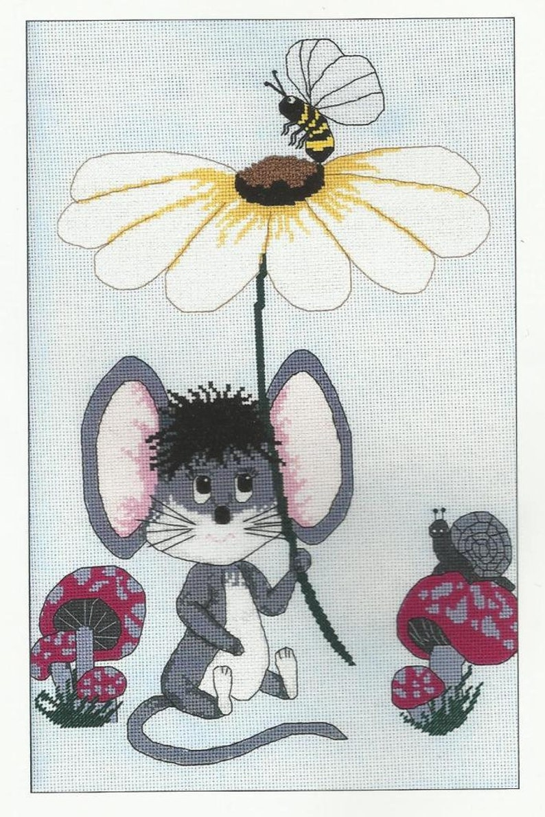 Easy Cross Stitch Fun to Stitch Mouse Cross Stitch Pattern Let A Flower Be Your Umbrella from Cross Stitch With Flair