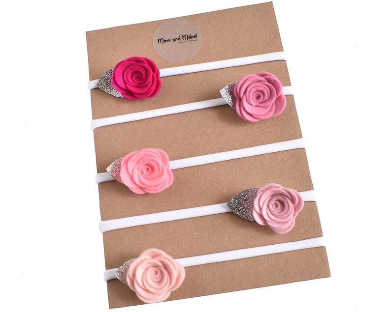 Floral Headband Dainty Headband Felt Rose Baby Headband Pinks Baby Flower Headband Newborn Headbands