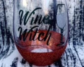 Wine Witch Wine Glass - Wine Lover - Wine Witch - Halloween Glass - Wine Witch Glass