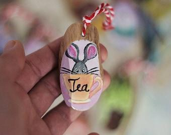 Mini Mouse in Tea Cup Wood Slice Painting, Animal painted on Wood Slice, Mug Charm, Hanging Round Painting, Animal Painting, Typography Sign