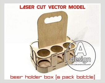 Beer Holder Box Laser Cut Vector Instant Download Pattern Carrier Tote Caddy Wooden Cnc File BHB 6