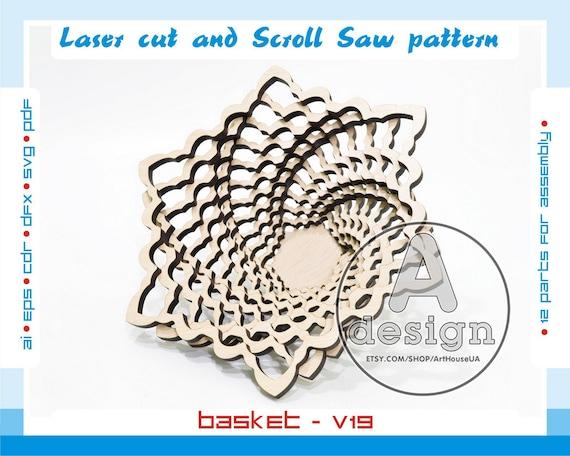 Scroll Saw vector Laser files Scroll Saw laser laser cut vector Scroll Saw pattern Scroll Saw basket SSB-7 Scroll Saw bowl Cnc file