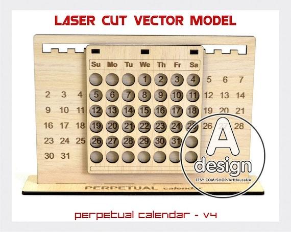 Perpetual Calendar Calendar Laser Cut Vector Model