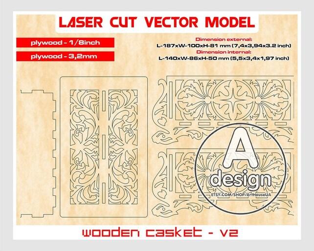 Holzschatulle Sperrholz Sarg Sarg Laser Modell   Etsy