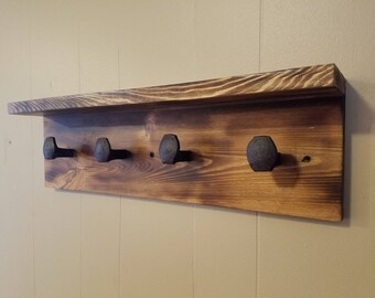 Railroad Spike Coat Rack With Shelf