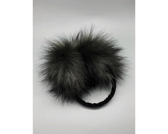 Black White Metal Plate Literature Pattern Winter Earmuffs Ear Warmers Faux Fur Foldable Plush Outdoor Gift