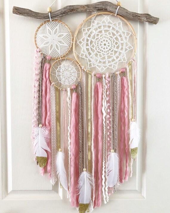 Vintage Wallhanging, Girls Bedroom, Pink Bedroom Decor, Nursery Wallart,  Natural Nursery, Feather Wallart, Girls Bedroom, Pink and Gold