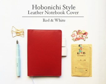 FREE SHIPPING Hobonichi cover, Hobonichi planner cover, Red White Color, A6 size, A5 size, B6 size