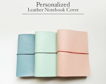 FREE SHIPPING Handmade Leather Traveler's Notebook Cover /Midori style cover/Baby Blue/Carol Pink/Mint / Leather Journal / Fauxdori / B6