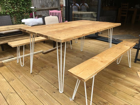 Wooden Scaffolding Dining / Garden Table And Two Benches With Steel Hairpin Legs by Etsy
