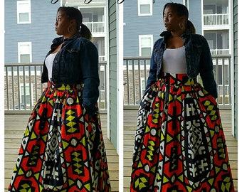69dea14085 African Print Maxi Skirt, African Skirt, Maxi Skirt, Ankara Skirt