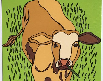 Giclee Print 'Cow Love' Hand drawn Ink Digitally Colored