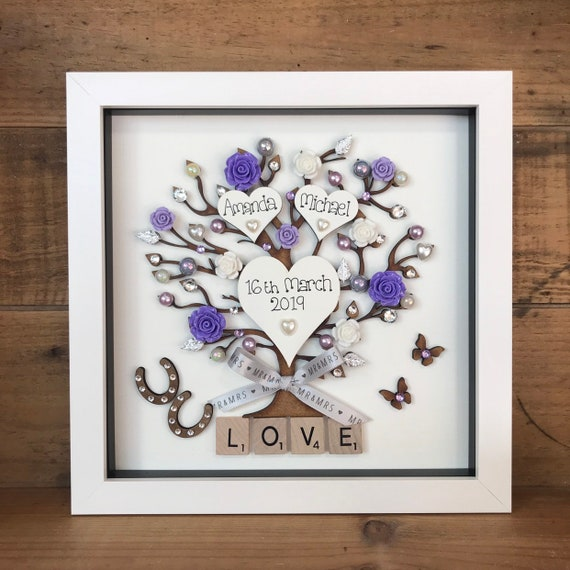 Personalised Wedding Gift In A Deep Box Frame