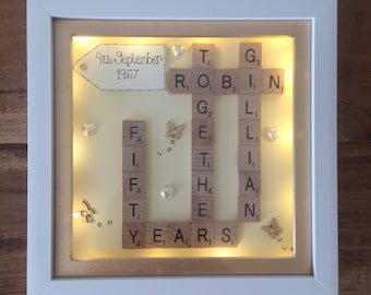 "9"" Personalised deep box scrabble frame golden silver wedding anniversary led light box gift"