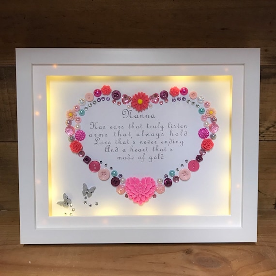 Beautiful LED Lit box frame 18 th 21st birthday gift mother and daughter  poem with flowers pearls & diamantes