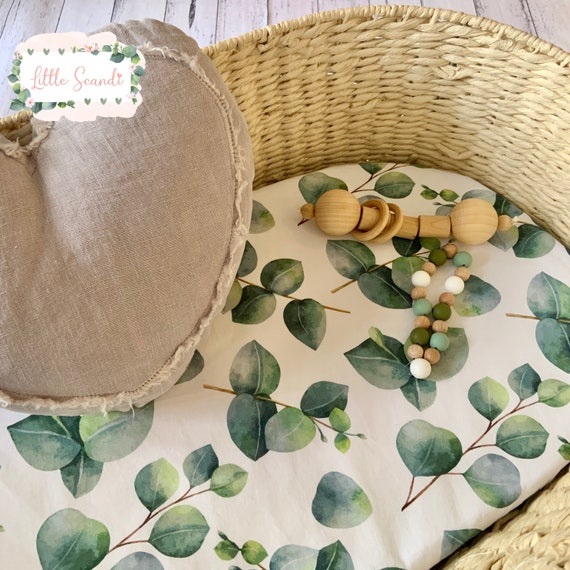 Moses Basket Fitted Sheet  Natural Pure  Cotton Bassinet Pram