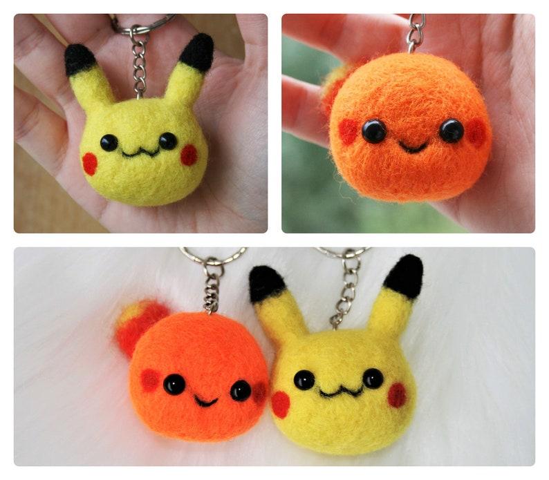 Pikachu Kawaii Charmander Pokemon Keychain Plush Felted Pokemon Felted Pokemon Character Miniature Charmander Keyring Handcrafted Wool