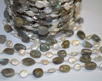 Beautiful Labradorite-Pearl nuggets Rosary Beaded Chain-Labradorite Wire Wrapped Chain , 8 - 14  mm -RB6004