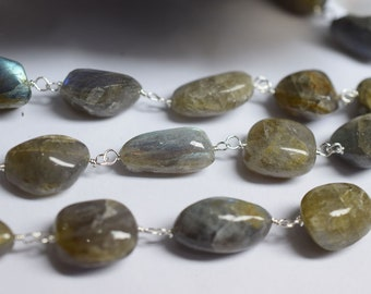NATURAL raw ORGANIC Labradorite SMOOTH nuggets Rosary Beaded Chain-Labradorite Wire Wrapped Chain , 8 - 14  mm -RB6005
