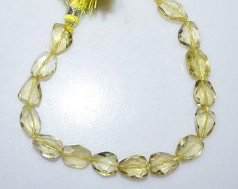 Lemon Quartz Faceted Tumble 1 Strand Natural Lemon Quartz Faceted Nuggets Briolette 7 BL2453 22x28-34x47 mm