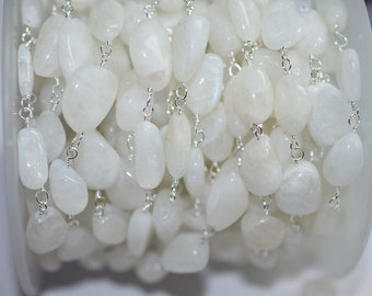 Beautiful Rainbow Moonstone Rosary nuggets Chain-Rainbow Moonstone Nuggets Wire Wrapped Rosary Chain , 8-14 mm , RB6006
