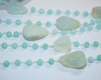 Beautiful Aqua druzy 16 to 22 mm with Aqua Round Chalcedony Rosary Beaded Chain-Chalcedony(Jade) Faceted Round Chain , 6 mm - RB6001