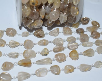 Natural Beautiful Golden Rutile smooth nuggets Rosary Beaded Chain-Golden Rutile Wire Wrapped Chain , 8-14 mm - RB6008