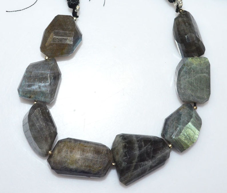 1 Strand Labradorite Faceted Nuggets Briolette Labradorite Faceted Tumble Beads 14x20-18x26 mm 7 BL2325
