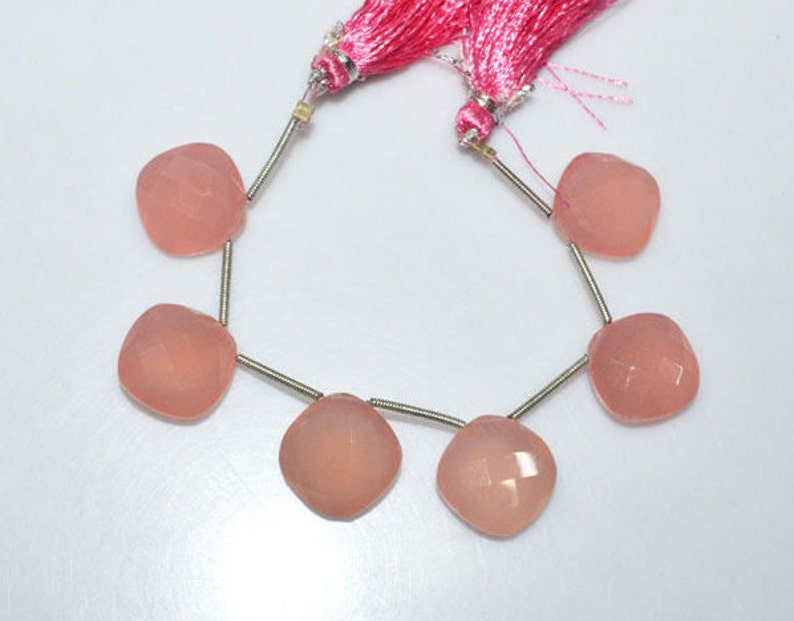 Long Size Brand New 6 Pieces Rose Pink Chalcedony Faceted Cushion Shape Briolette 15 x 15 mm BL3709 Lowest Price