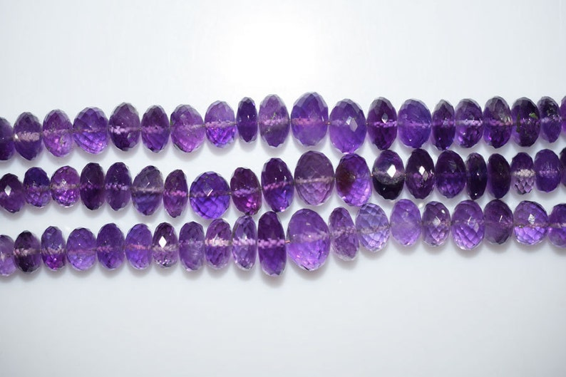 MC786 Amethyst Faceted Rondelle Beads 8 Inch Strand Amethyst Faceted Rondelle Beads 7.5-12 mm