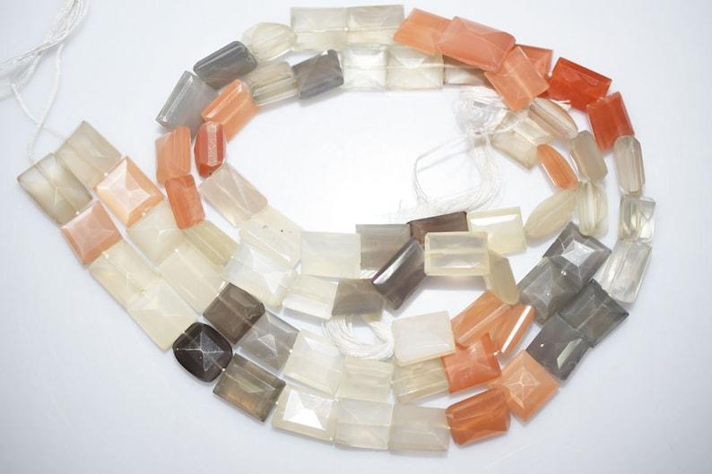 BL890 14.5 Natural Multi Moonstone Fancy Rectangle Shape Faceted Beads 9x9-10x12.5 mm Moonstone Rectangle Shape Briolette
