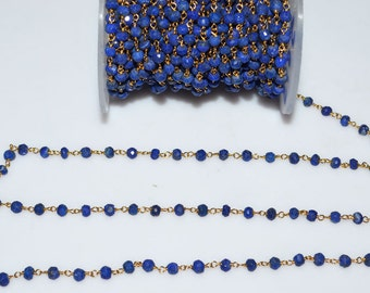 Beautiful Lapis Rosary Beaded Chain-Lapis Beaded Gold Wire Wrapped Chain , 3.75 mm - RB5012