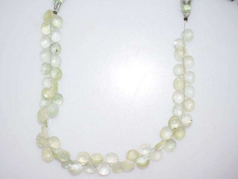 BL497 6.5x6.5-7x7 mm Prehnite Heart Shape Beads 8 Strand Good Quality Prehnite Faceted Heart Shape Briolette