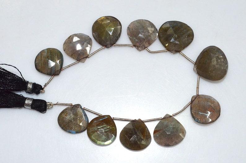 Labradorite Heart Shape Briolette BL571 Labradorite Faceted Beads 15x15-18x18 mm Labradorite Briolette