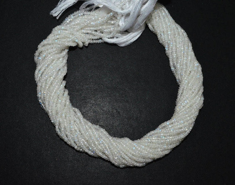 13 Strand White Rainbow Moonstone Faceted Rondelle Beads White Rainbow Moonstone Rondelle MC1152 2.50 mm