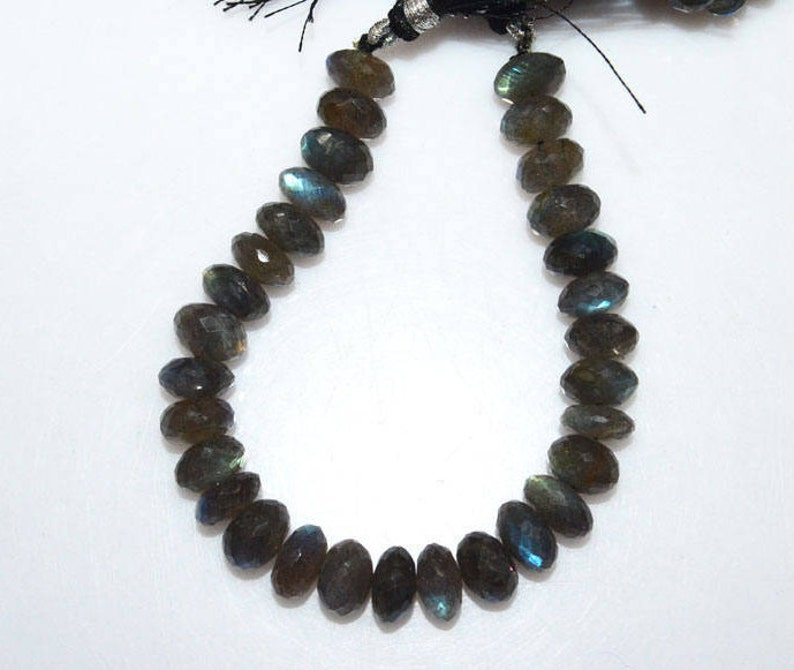 Sold By Strand 8 MC1316 9-10 mm Wholesale Prices Brand New Labradorite Faceted Rondelle Beads Far Size Labradorite Rondelle