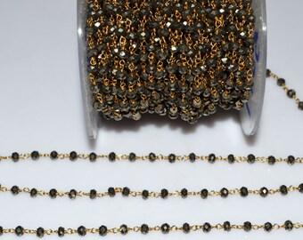 Beautiful Natural Pyrite Rosary Beaded Chain-Natural Pyrite Beaded Gold Wire Wrapped Chain , 3.50-4 mm - RB5017