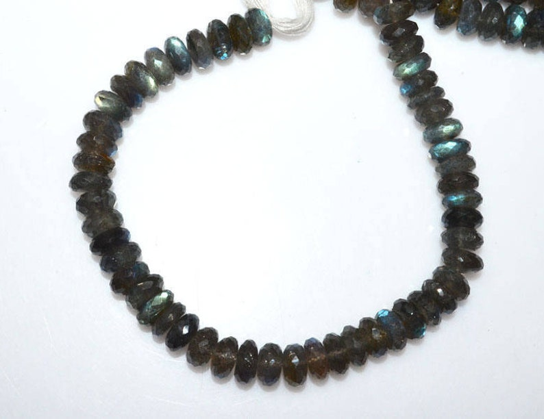 9 Top Quality Labradorite Faceted Rondelle Beads Sold Per Strand Labradorite Rondelle Beads 9.50 mm MC452J