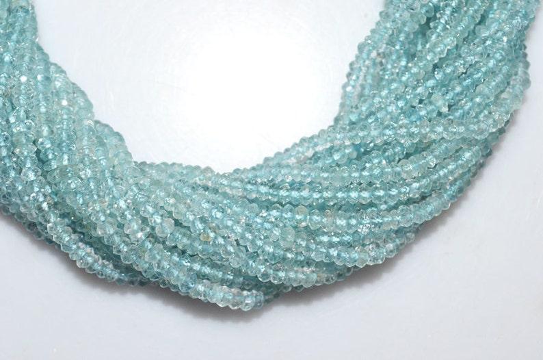 Aquamarine Micro Faceted Rondelle Aquamarine Faceted Rondelle Beads 13 Inch Strand MC459 3.25 mm