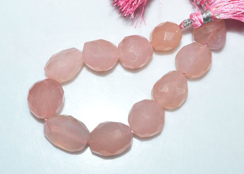 BL3319Z1 Rose Quartz Faceted Tumble 7 14x14-16x19 mm 1 Strand Rose Quartz Faceted Nuggets Briolette Nugget Beads