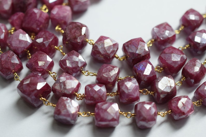 Amethyst Gemstone Drops Gold Vermeil Wire Wrapped Chain 3.5mm Rondelles