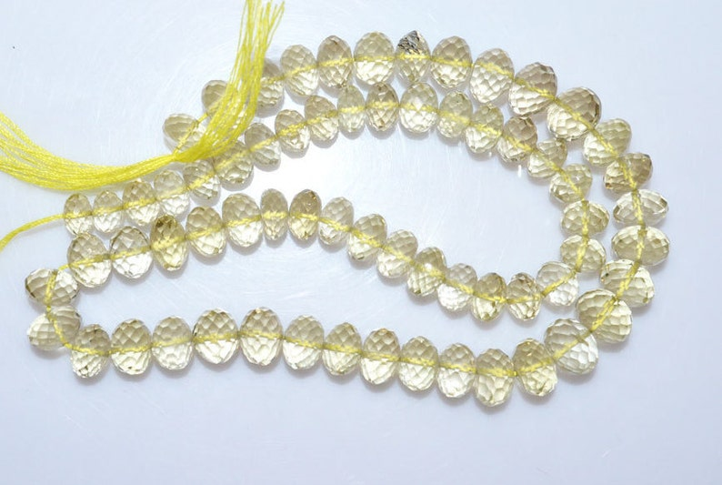 MC917 1 Strand Natural Lemon Quartz Rondelle Beads Natural Lemon Quartz Faceted Rondelle Beads 6-9 mm 14
