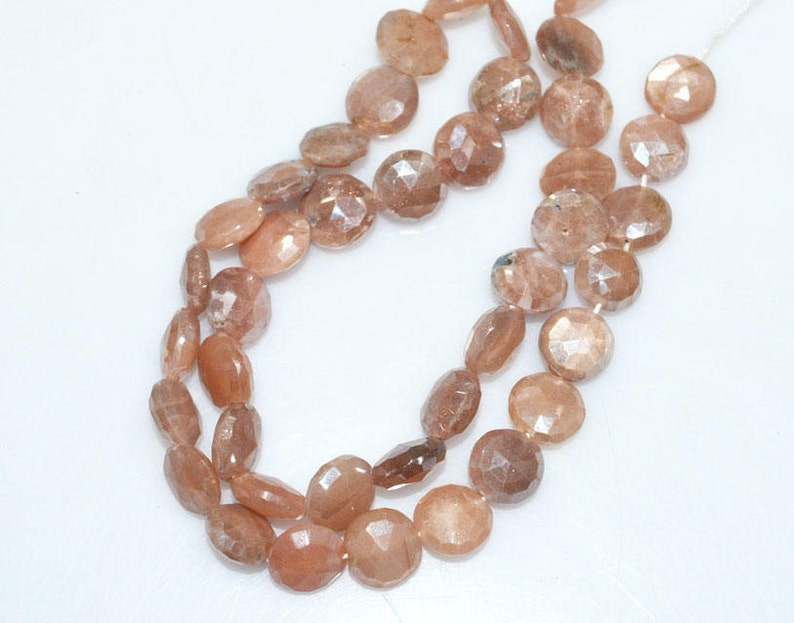13-BL3828 AB Coated Peach Moonstone Brand New Pack of 3 Strands Mystic Peach Moonstone Faceted Coin Shape Briolette 8-10 mm
