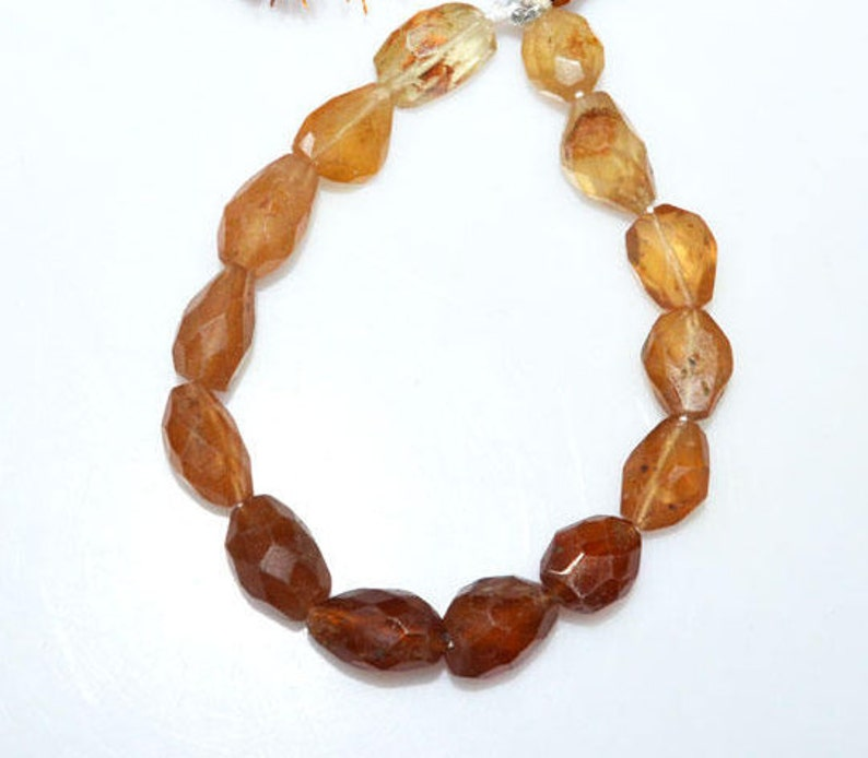 Sold By Strand 7 BL3053 10x12-10x16 mm Hessonite Tumble Beads 1 Strand Hessonite Faceted Nuggets Briolette