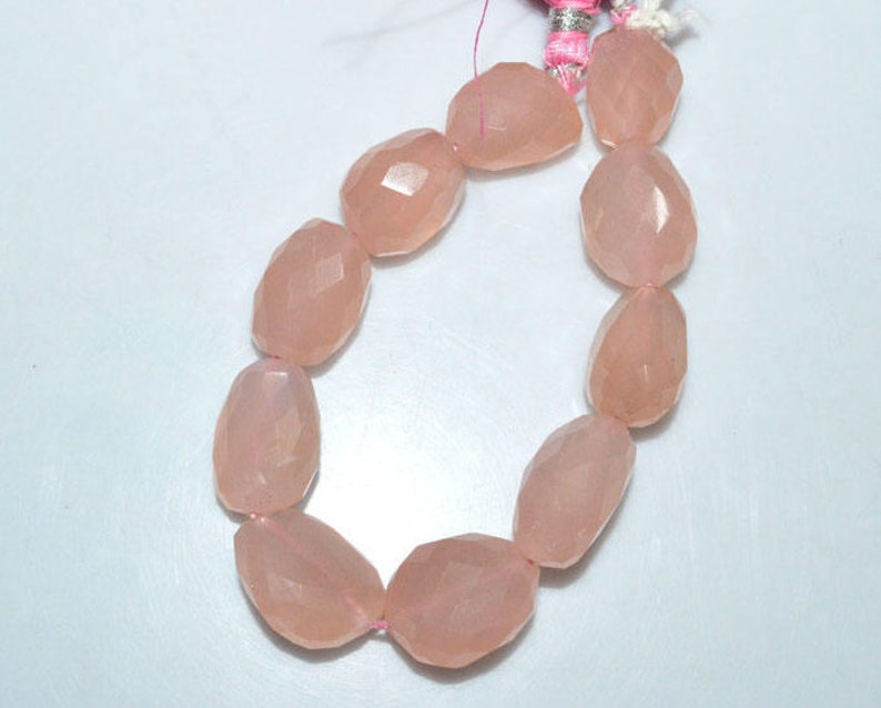 14x15-15x21 mm 1 Strand Rose Quartz Faceted Nuggets Briolette Rose Quartz Faceted Tumble 7 BL3319A Nugget Beads