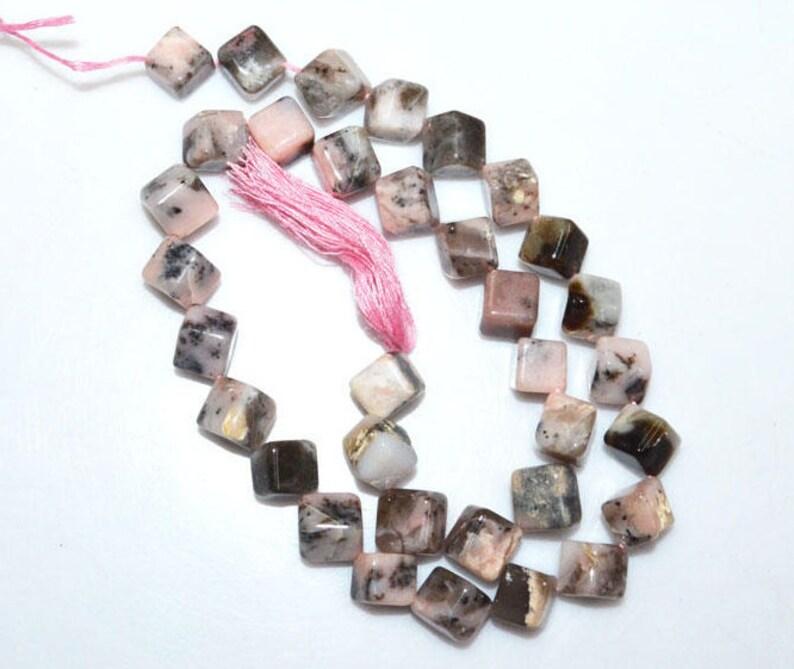 Plain 3D Box Briolette 7.50-8.50 mm 14.5-BL3734B 1 Strand Natural Pink Peruvian Opal 3D Box Smooth Beads-Pink Opal Briolette