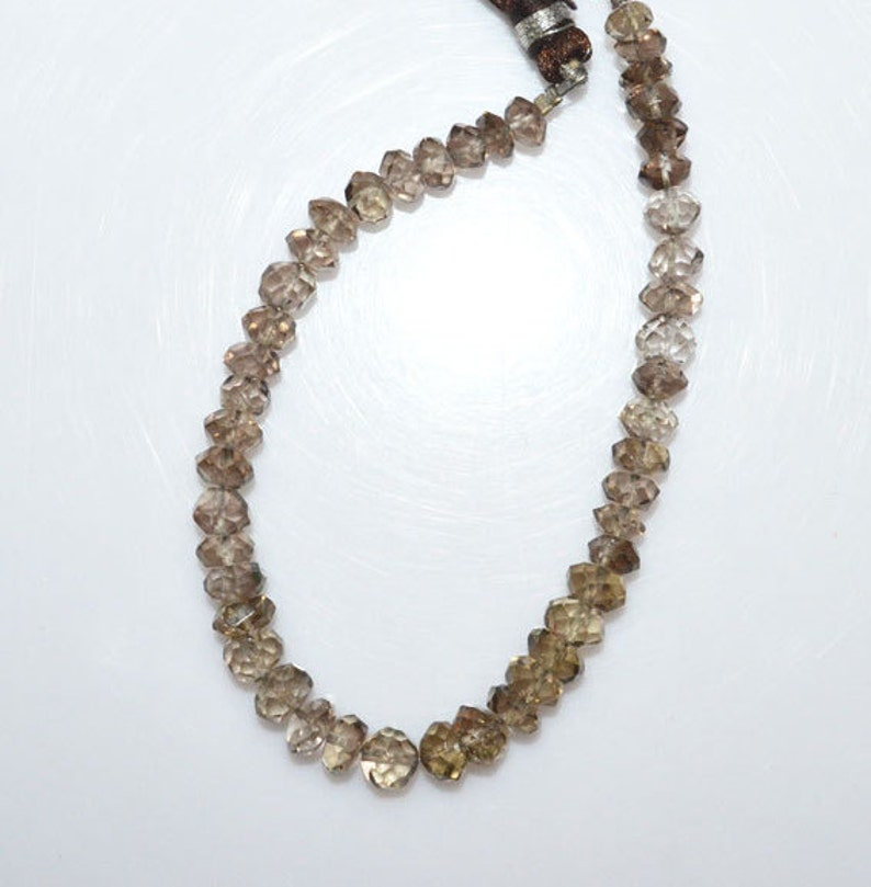 7 MC858 1 Strand Smoky Natural Quartz Faceted Rondelle Beads 5.50-6.75 mm Smoky Rondelle Smoky Faceted Beads