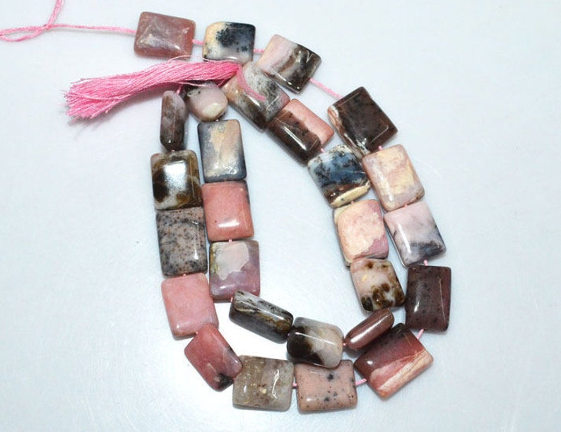 14 BL3737A 9x12-12x14 mm Pink Opal Plain Square Briolette 1 Strand Natural Pink Peruvian Opal Flat Cushion Smooth Beads
